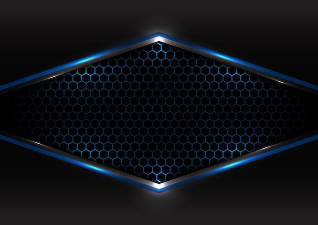 추상적 인 기술 미래형 개념 검정과 회색 금속 오버랩 블루 라이트 프레임 육각 메쉬 디자인 현대 배경.