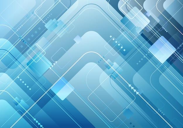 Абстрактная технология футуристическая концепция синий квадрат геометрическая композиция с фоном элементов линий. векторная иллюстрация