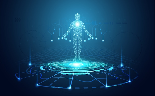Abstract technology futuristic concept of digital human body