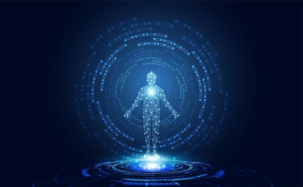 Абстрактная технология футуристической концепции цифрового человеческого тела