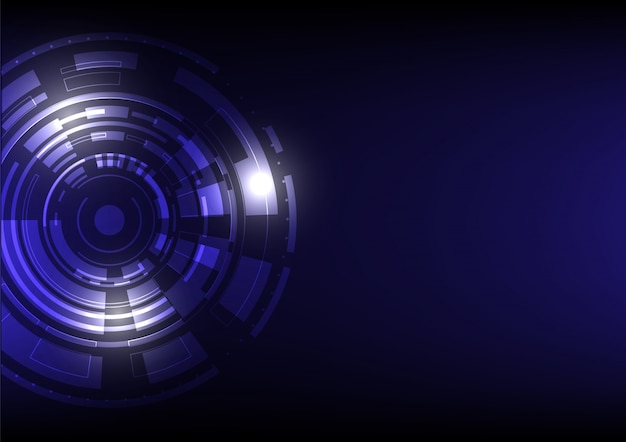 Abstract technology futuristic digital background on blue and black with a various circle and square geometric shapes