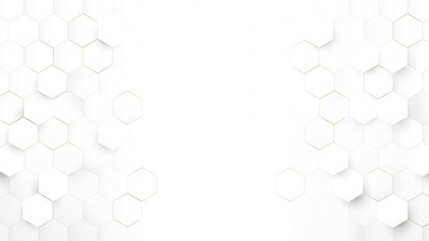 Абстрактные технологии, футуристическая цифровая концепция высоких технологий. абстрактный белый и золотой шестиугольный фон.