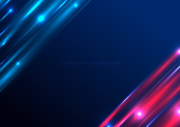 Abstract technology futuristic lighting effect on blue