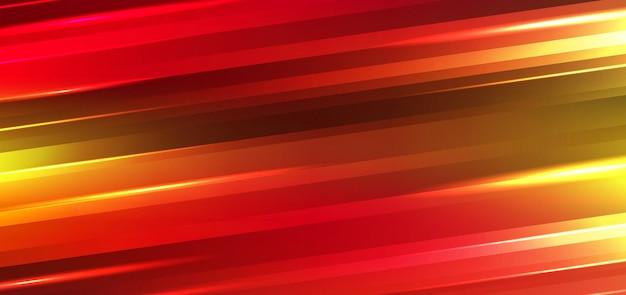 抽象技術の未来的な動きの背景ネオンライトは、光沢のある縞模様の線の赤と黄色のグラデーションの色に影響を与えます。