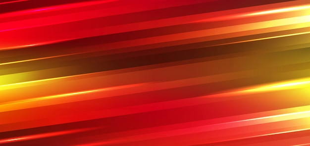 Abstract technology futuristic motion background neon lights effect shiny striped lines red and yellow gradients color.