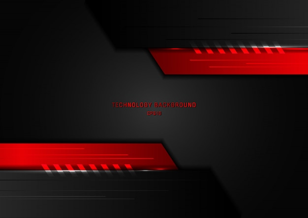 Abstract technology geometric black and red