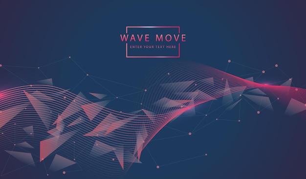 抽象技術幾何学背景動的波線。