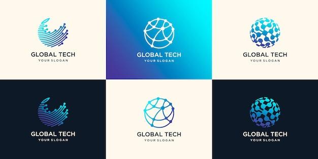 Abstract technology globe logo design concept Premium Vector