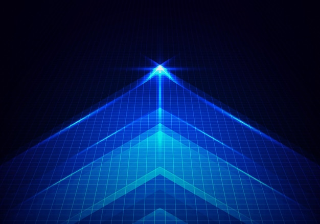 Abstract technology glowing blue arrow forward with lighting and line grid on blue background. vector illustration