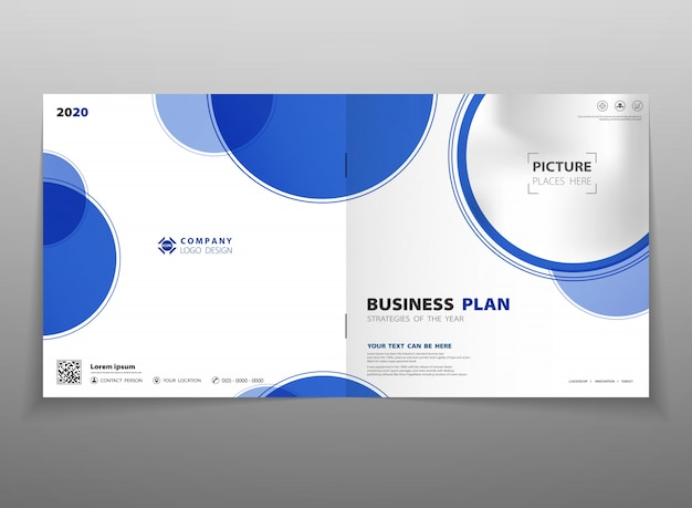 Abstract technology gradient blue circle brochure background template.