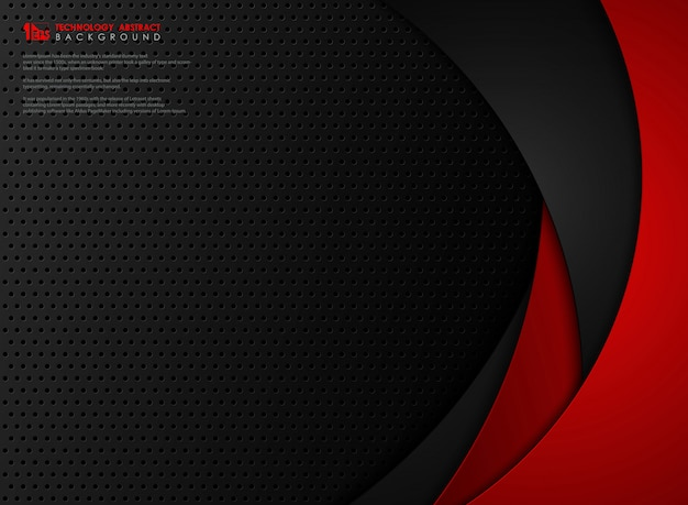 Abstract technology gradient red and black geometry steel background.