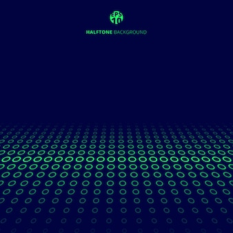 Abstract technology halftone green circles on blue background