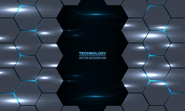 Abstract technology hexagon background with circuit electric lightning lines