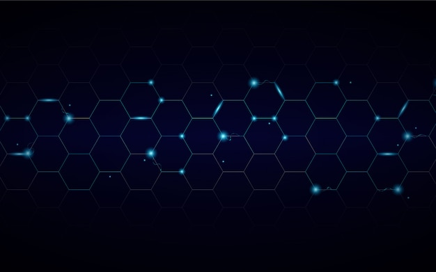Abstract technology hexagon background with electric light