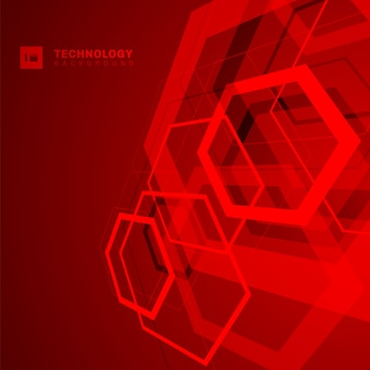 Abstract technology hexagon shape red background