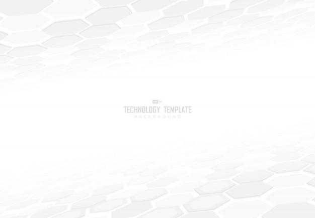影の背景を持つ要素の視点の抽象的なテクノロジー六角形パターンデザイン。