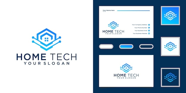 抽象技術の家のデザインテンプレートと名刺