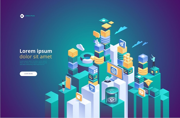 Abstract technology isometric. concept of data network managemen