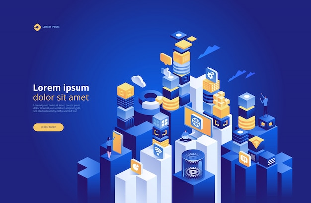 Abstract technology isometric, concept of data network management