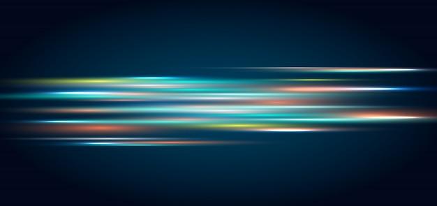 추상적 인 기술 조명 효과 어두운 파란색 배경