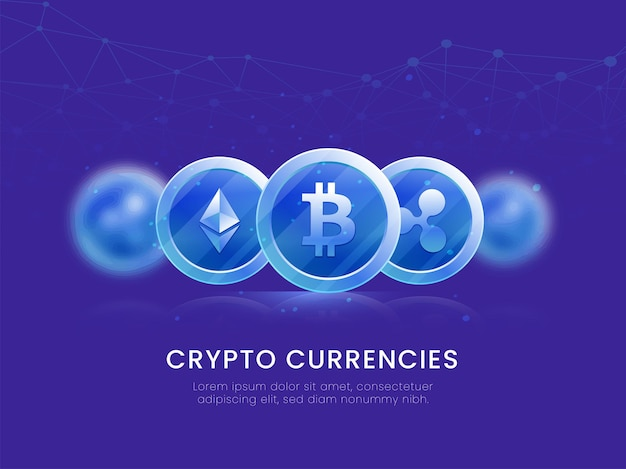 Abstract technology lines background with 3d crypto currencies illustration.