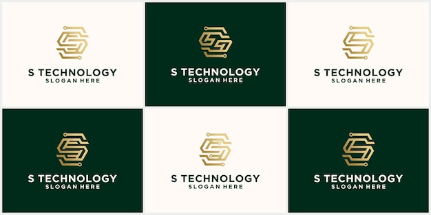 Abstract technology logo letter s set