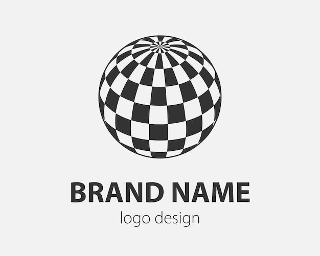 Абстрактный технологический логотип со сферической поверхностью с абстрактным рисунком
