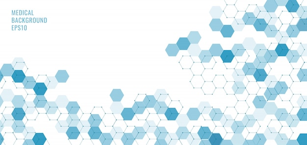 Abstract technology or medical blue hexagons shape pattern