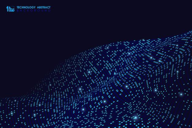 暗い背景に未来的な粒子設計パターンの抽象的な技術。