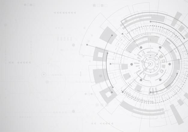 科学の背景の抽象的な技術。幾何学的形状の未来的なインターフェース。ベクトルイラスト