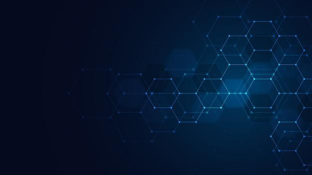 抽象的なテクノロジーや六角形のパターンを持つ医療の背景。ヘルスケア技術、イノベーション医学、健康、科学、研究の概念とアイデア。
