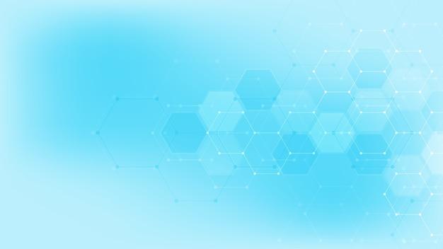 Абстрактная технология или медицинское образование с образцом формы шестиугольников. концепции и идеи для медицинских технологий, инновационной медицины, здравоохранения, науки и исследований.