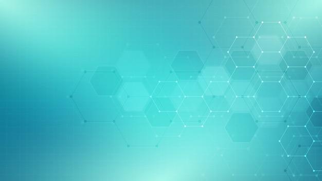 六角形の形状パターンと抽象的な技術または医学的背景