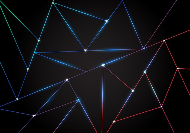 Abstract technology polygonal background black triangles laser lines