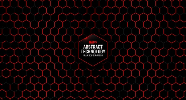 Abstract technology red hexagon pattern on black background.