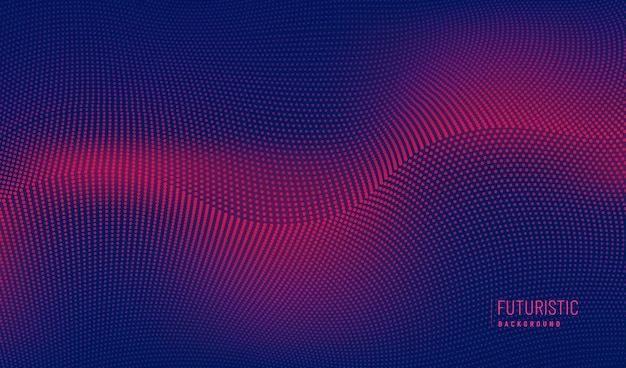 Abstract technology red particles wavy design 3d movement of sound dynamic on dark blue