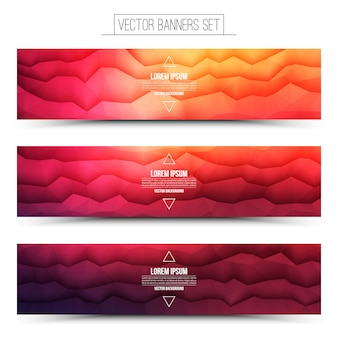 Abstract technology red web banners vector set