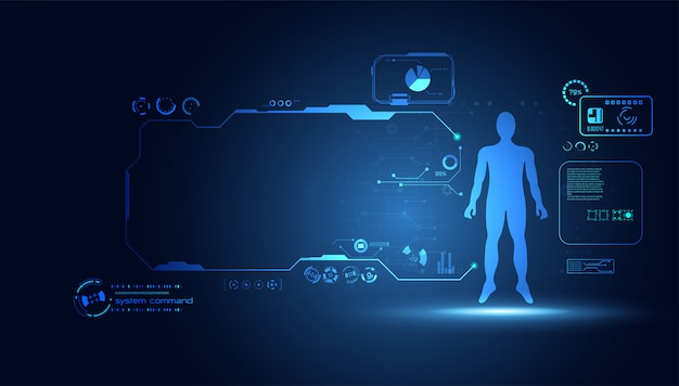 Abstract technology science human data health digital