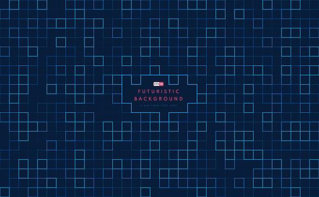 暗い背景に抽象的な技術の正方形の青と緑のパターンのアートワーク。