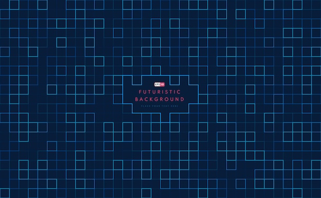 Abstract technology square blue and green pattern artwork on dark background.