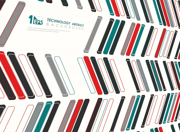 Abstract technology square design of colors perspective tech design background