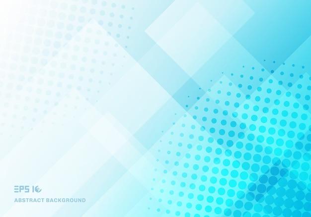 파란색 배경을 겹치는 추상 기술 사각형