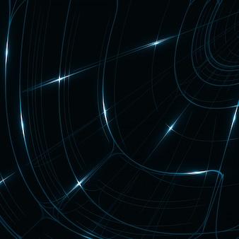 抽象的な技術、テクニカルドローイング、光沢のある空間の背景