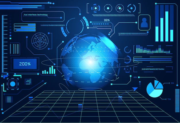 추상 기술 ui 미래 개념 hud 세계 인터페이스 홀로그램