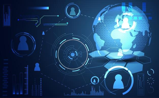 抽象的な技術ui未来的な概念の世界デジタル