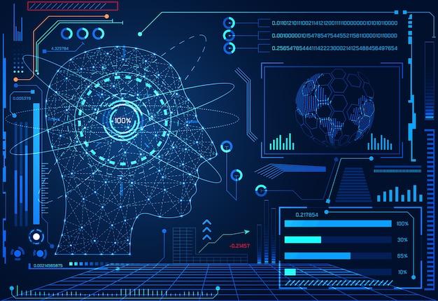 추상적 인 기술 ui 미래 인간의 두뇌 인터페이스 홀로그램