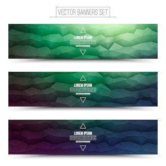 Abstract technology web banners set