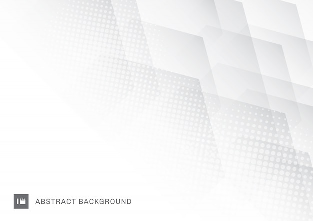 Abstract technology white hexagons with halftone background