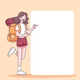 Абстрактная девушка-подросток с рюкзаком стоит с пустым пузырем скорости в мультипликационном персонаже, плоской иллюстрации
