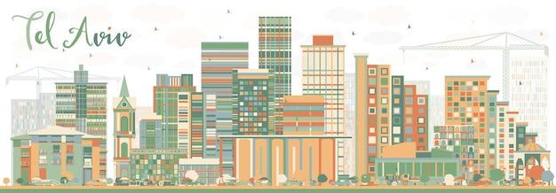 Абстрактный горизонт тель-авива с цветными зданиями. векторные иллюстрации. деловые поездки и концепция туризма с современной архитектурой. изображение для презентационного баннера и веб-сайта.